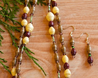 Handmade Earth Friendly Double Strand Glass and Paper Bead Necklace and Earring Set in Natural Tones with Accents of Green and Purple