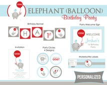Elephant 1st Birthday Party Package Printable (Blue Gray Elephant with Red Balloon and Bird) Simple Elegant - Personalized