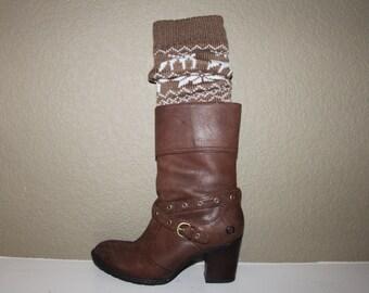 FREE SHIPPING!!  Leg warmer - Boot sock - women's leg warmer - knit boot sock - womens boot sock - deer - snowflake
