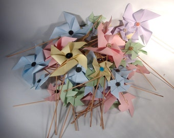 Beautiful yet Whimsical Handcrafted Paper Pinwheels Large 14""