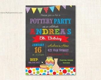 Pottery Painting Chalkboard Birthday Invitations - Arts & Crafts Birthday Invitations - Digital or Printed