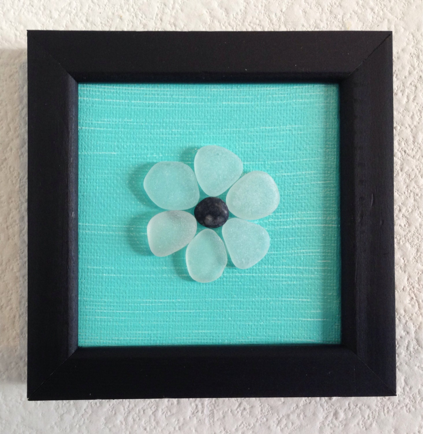 Wall Art Glass Framed : Sea glass art pebble canvas framed acrylic