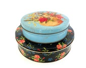 Vintage Flower Tins, Two Colorful Turquoise Black Rose Vintage Floral     Storage Tins, Cottage Chic Notions Tins