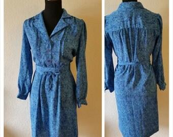 Vintage Blue Paisley Dress