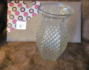 Hoosier Diamond Pattern Glass Rigged 7in Vase