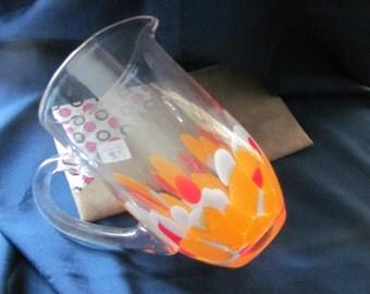 Retro Glass Pitcher Orange white