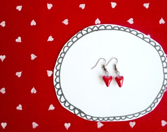 ceramic earrings-earrings with red heart earrings with hearts-ceramic-gift for Valentine