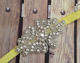 Rhinestone headband, yellow headband, flower girl headband, wedding headband, dressy headband, formal headband, halo, baby headband,
