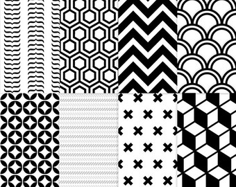 Black and white geometric seamless pattern backgrounds