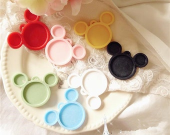 Wholesale-50pcs Mixed Colors Victorian Resin Mickey frame cameo setting flatback cabochon 25mm