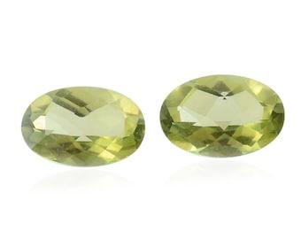 Mystic Green Topaz Set of 2 Loose Gemstones Oval Cut 1A Quality 6x4mm TGW 0.95 cts.