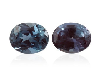 Alexandrite Synthetic Lab Created Color Change Loose Gemstones Set of 2 Oval Cut  1A Quality 5x4mm TGW 0.65 cts.