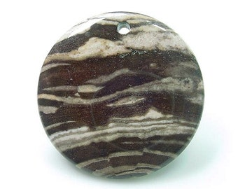 Zebra Jasper Round Gemstone Pendant with Drilled Hole 45mm x 4mm Without Chain