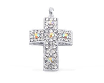 White Austrian Crystal Cross Pendant Without Chain in Silvertone