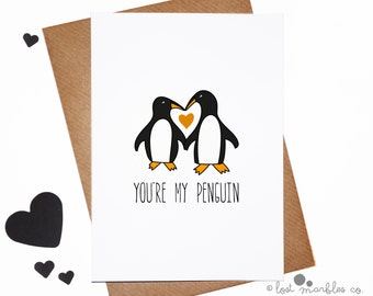 Sweet Valentine Card ∙ Cute Anniversary Card ∙ Love Card ∙ I Love You Card ∙ Just Because ∙ Card for him ∙ Card for Her ∙ You're my Penguin