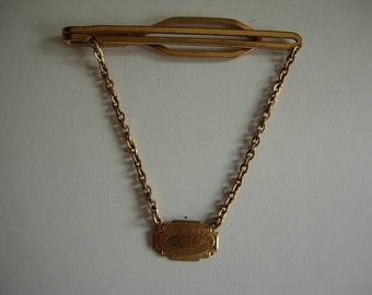Incredible Gold Art Nouveau 1910s-20s Hayward Tie Bar with Chain and Pendant