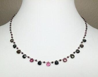 Tourmaline Briolette Garnet Sterling Silver Necklace