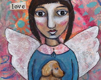 angel artwork, guardian angel, Angel and dog, angel art, wall art, folk art angel, folk art painting,