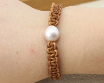 ETS-B063 freshwater pearl bracelet, pearl beaded leather bracelet, twisted leather  pearl jewelry bracelet, 1 piece
