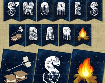 Instant Download! Bonfire S'mores Party Pennant Banner Printable / Backyard Outside / Campfire Printable / Camping Party / S'mores Banner