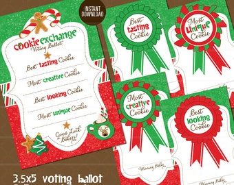 Holiday Cookie Exchange Voting Ballot and Award Badges // Cookie Swap Voting Ballot // Recipe Card Christmas Green Red Instant Download