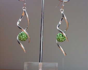 Silver helix green disco ball dangle earrings