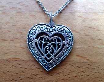 Antique tibetan silver love heart necklace