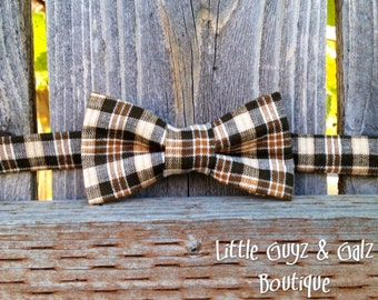 Little boy bow tie, brown plaid, Thanksgiving bow tie, baby bow tie, toddler bow tie
