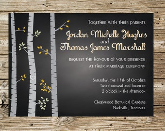 Chalkboard Birch Trees wedding invitation