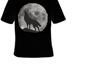 howling wolf tee T shirt moon cute gift tee shirts howl moonwolf