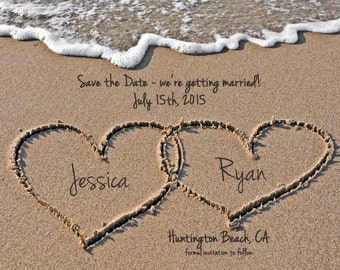 Beach Save the Date, Destination Wedding Save the Date, Hearts in Sand, Digital File, Printable Save the Date, 5x7