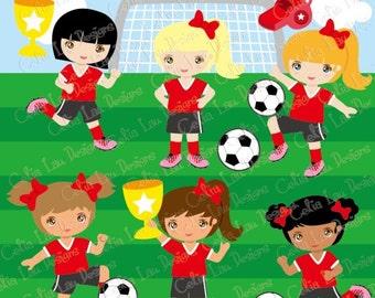 Soccer girl clipart, Football girl Digital Clipart/ Soccer clip art /sport girl clip art (CG115)