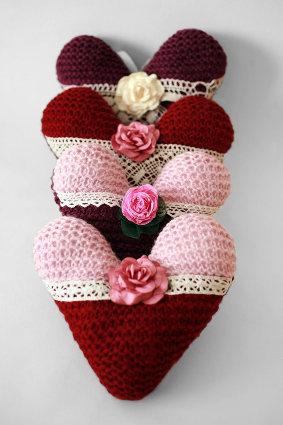 Hand knitted Heart decoration Wedding heart Hanging