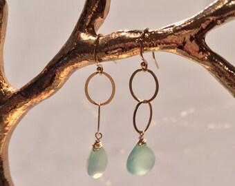 Preslee Earrings in Green Chalcedony