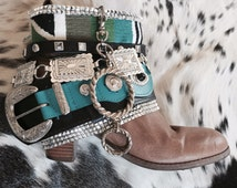 Reworked Upcycled cowboy vintage Christmas winter gypsy festival boots boho coachella burning man rocker boots - western boots punk boots