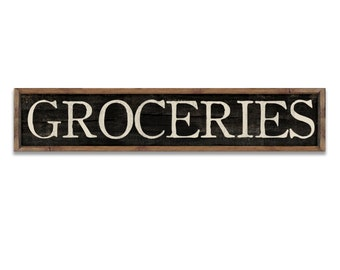 Groceries sign groceries plaque large grocery sign kitchen signs kitchen plaques kitchen decor kitchen wall art wooden signs handmade signs