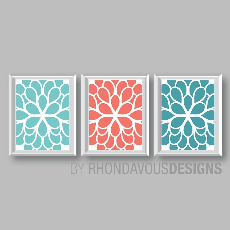 Teal Flower Wall Decor : Flower wall art teal blue coral turquoise dahlia print