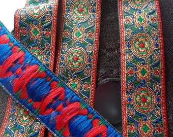 Jacquard Ribbon Trim  Circles and Swirls metallic ribbon trim~Renaissance Fair~Blue~Green~Red