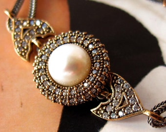 925 sterling  silver Turkish pearl bracelet with clear zircons