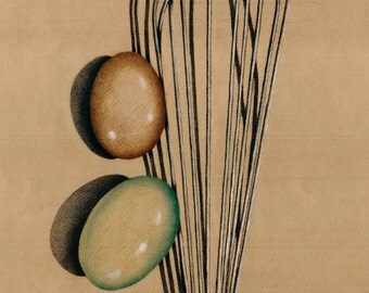 Whisk & Eggs.  Giclee 8 x 10 print of colored pencil drawing.