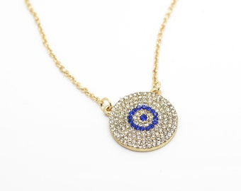 Turkey evil eye pave necklace clear/blue rhinestone pave beads pendant rhinestone evil eye connector jewelry turkish protection jewelry