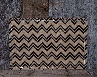 Chevron Burlap Covered Large Cork Board - Large Pin Board  - Large Message Board - Corkboard - Bulletin Board - Silver Border