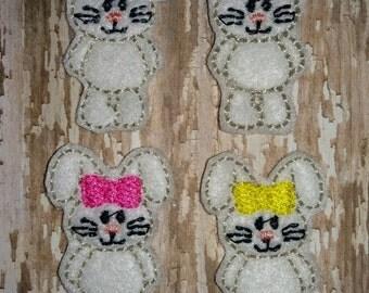 Set of 4 Girly Bunny Felties Rabbit Easter Feltie Felt Embellishment Bow! Birthday Party Easter Bunny Felties Planner Clips Clip Hoppers
