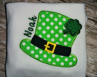 Baby Infant Toddler Girls Boys Leprechaun Hat Personalized St Patrick Patrick's Patty's Pattys Day Boutique T-Shirt Embroidered!