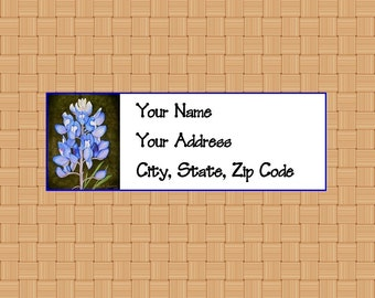 Address Labels Personalized Labels Return Labels Flower Labels Bluebonnet Labels Texas Labels Wildflower Labels