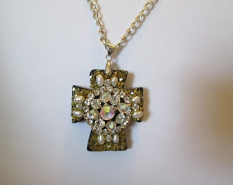 Chunky black cross with bling on long silver chain