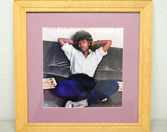 "Joan Armatrading ""To The Limit"" album with oak frame and violet matte, vinyl music art, album art, framed music, wall art, rec room art"