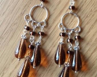 Silver and brown bohemian dangling earrings