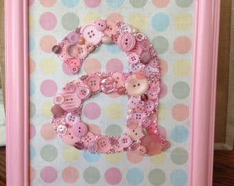 Button Letter Monogram 8x10