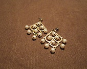 Vintage gold color chandelier drop pearl Art Deco earrings.